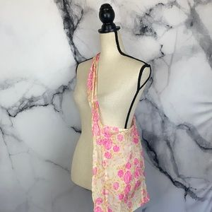 FREE PEOPLE pink cream sheer knit tote bag